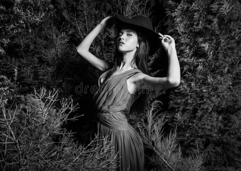 Stellen de schoonheids donkerbruine vrouwen in hoed bij nachtpark royalty-vrije stock afbeelding