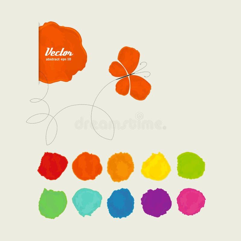 Stellen der Farbe und des Schmetterlinges vektor abbildung