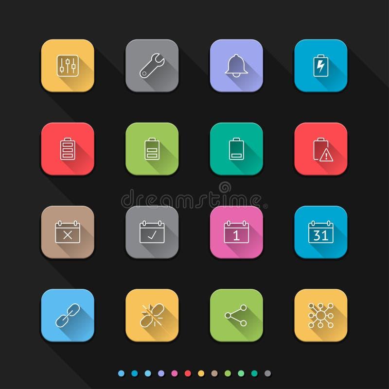 Stellen flache Artikonen der beweglichen Mitteilung ein - Vector Illustration für Netz u. Mobil stock abbildung