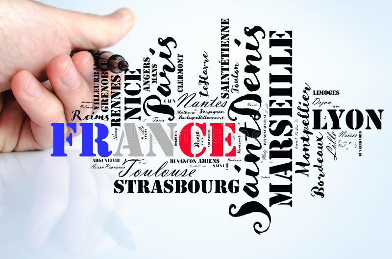 Stellen im Frankreich-Wortwolken-Reisekonzept lizenzfreies stockfoto