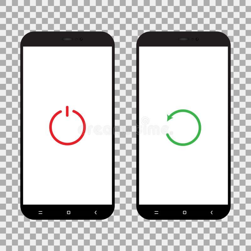 Stellen Sie ab und starten Sie Knopf auf Smartphoneschirm neu Vektor illustr lizenzfreie abbildung