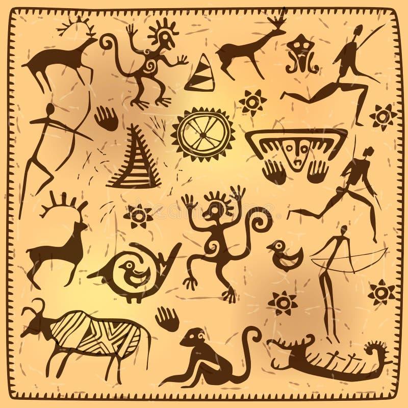 Stellen Sie afrikanische Petroglyphekunst der Elemente alt ein lizenzfreie abbildung