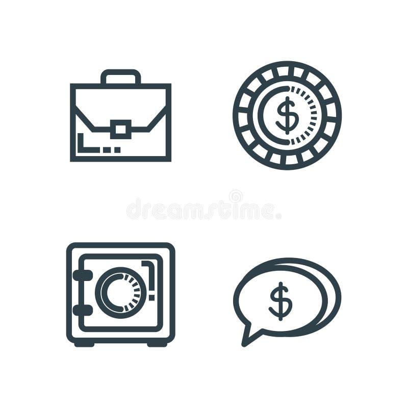 Stellen Sie Aktenkoffer mit Geldschrank und Münze ein vektor abbildung