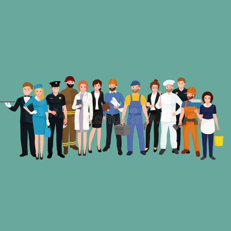 Stellen Sie Arbeitskräfte team, Berufleuteuniform, Karikaturvektorillustration ein stock abbildung