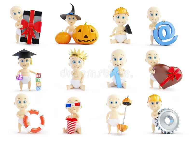 Stellen Sie Baby 3d in den verschiedenen Besetzungen und in den verschiedenen Gegenständen auf einem weißen Hintergrund ein stock abbildung