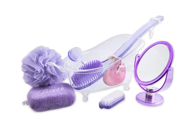 Stellen Sie Bad ein und entspannen Sie sich Produkte - Toilettenartikel lizenzfreies stockbild