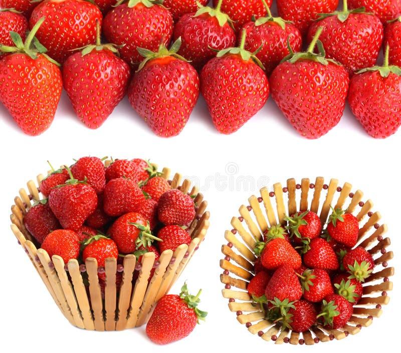 Stellen Sie Bilder mit Erdbeeren ein stockfoto