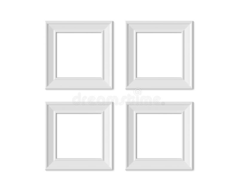 Stellen Sie Bilderrahmenmodell des Quadrats 4 1x1 ein Realisitc-Papier-, hölzerner oder weißer Plastikfreier Raum Lokalisierter P vektor abbildung