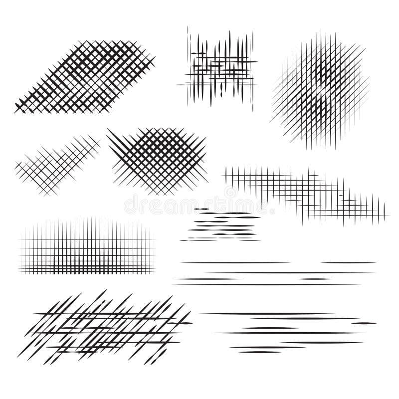 Stellen Sie Bleistiftanschläge, das Halbton ein und gravieren lizenzfreie abbildung