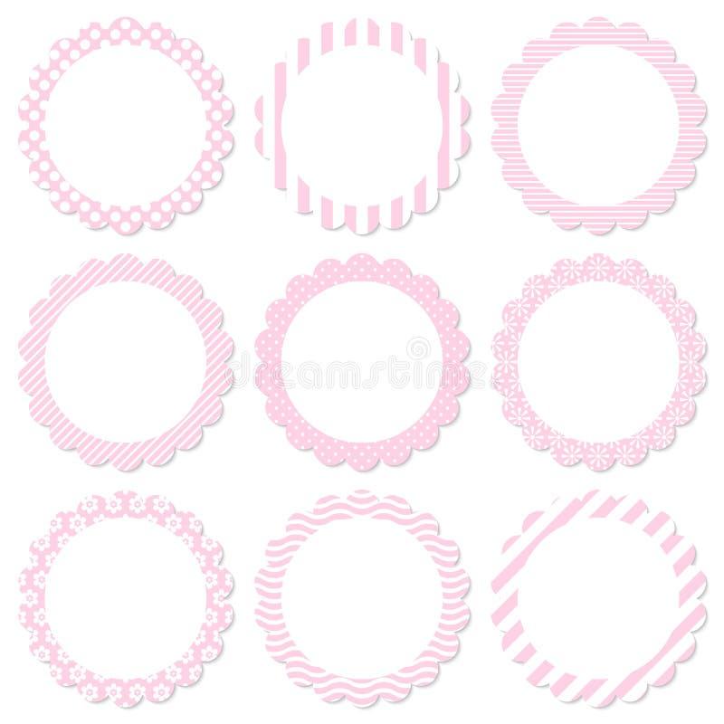 Stellen Sie Blumenaufkleber-vom unterschiedlichen Muster-Rosa und weiß ein stock abbildung