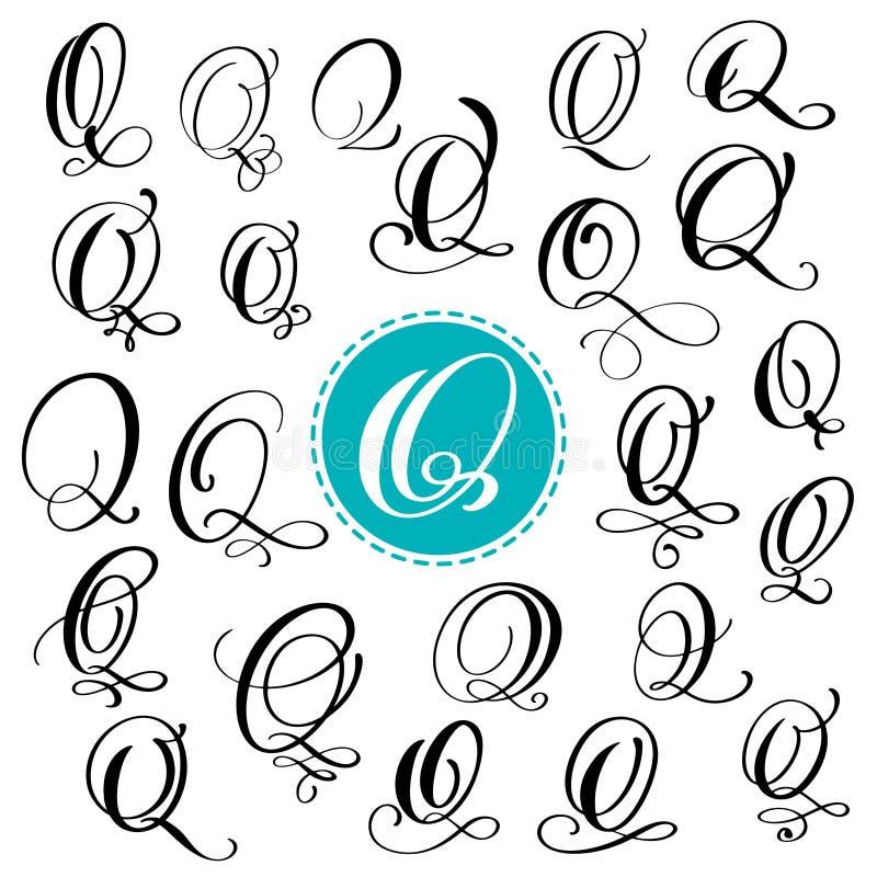 Stellen Sie Buchstaben Q ein Hand gezeichnete Vektor Flourishkalligraphie Skriptguß Lokalisierte Briefe geschrieben mit Tinte Han vektor abbildung