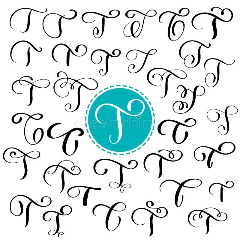 Stellen Sie Buchstaben T ein Hand gezeichnete Vektor Flourishkalligraphie Skriptguß Lokalisierte Briefe geschrieben mit Tinte Han lizenzfreie abbildung