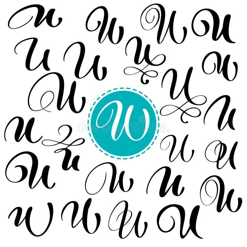 Stellen Sie Buchstaben U ein Hand gezeichnete Vektor Flourishkalligraphie Skriptguß Lokalisierte Briefe geschrieben mit Tinte Han vektor abbildung