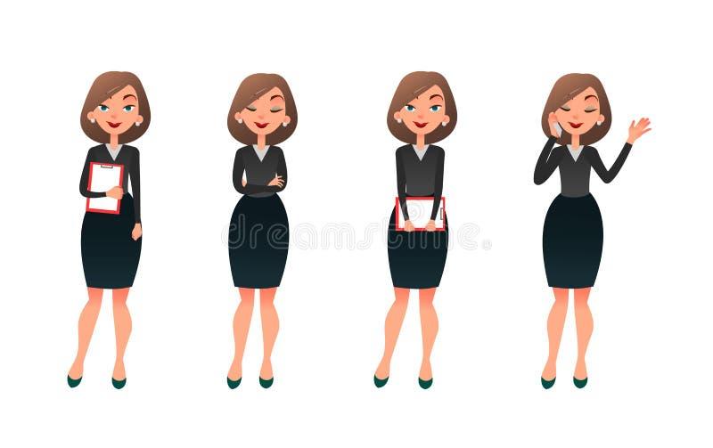 Stellen Sie Charaktergeschäftsfrau in den verschiedenen Haltungen ein Karikaturvektorsekretär oder -lehrer auf verschiedenen Funk lizenzfreie abbildung