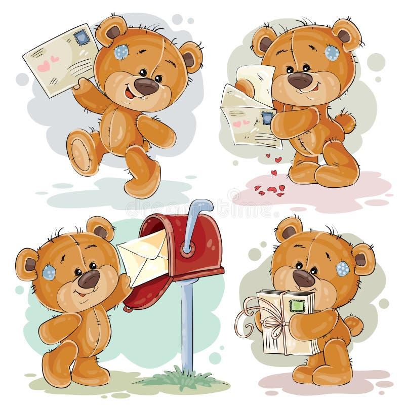 Stellen Sie Clipartillustrationen des Teddybären erhält und sendet Briefe ein stock abbildung