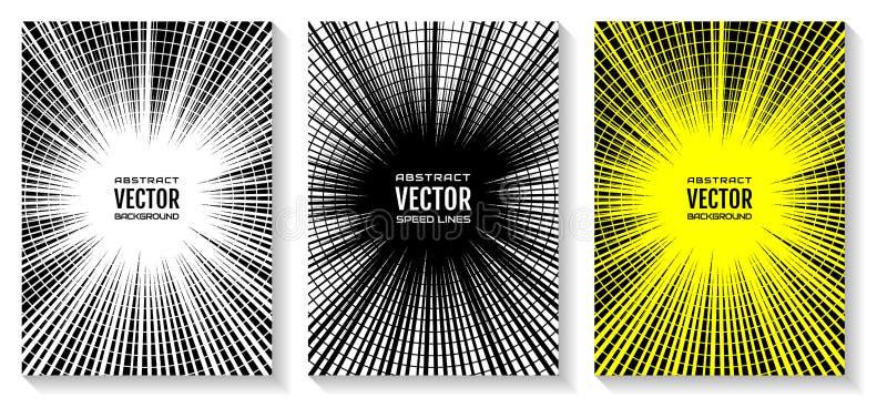 Stellen Sie Comic-Buch-Geschwindigkeitslinien Radialstrahlhintergrund ein Geometrische Illustration von Strahlen schnitt durch Kr lizenzfreie abbildung