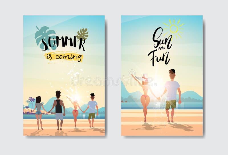 Stellen Sie das Mannfrauen-Paarhändchenhalten ein, das Sommerferien-Strandausweis Design-Aufkleber der hinteren Ansicht des Sonne vektor abbildung