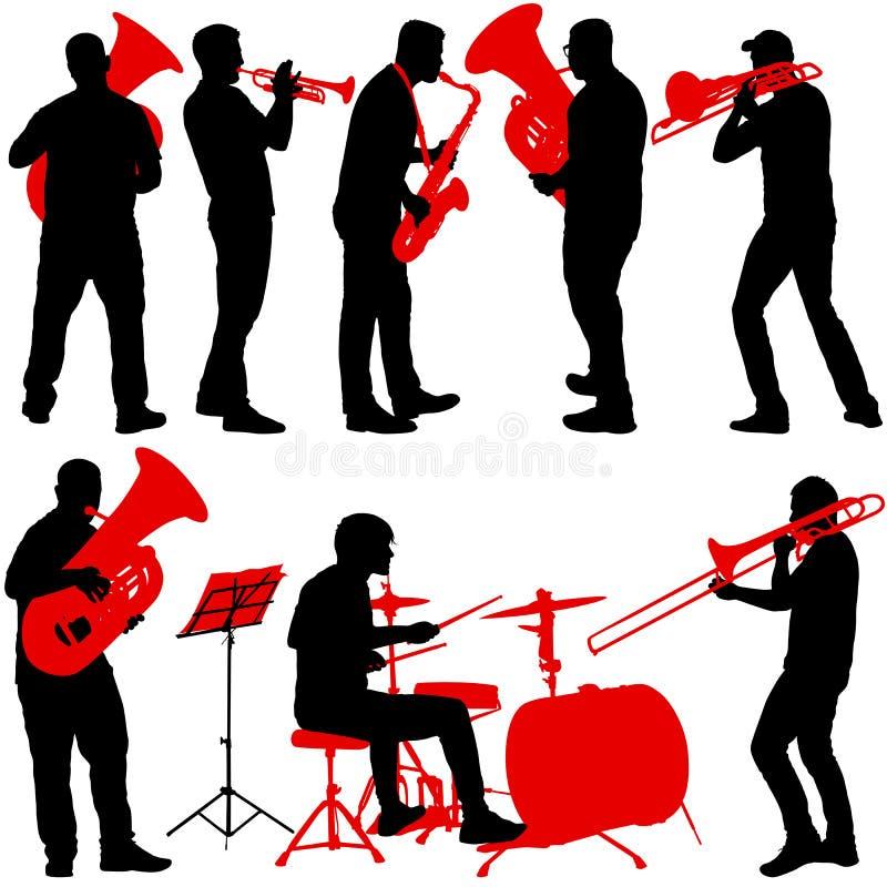 Stellen Sie das Schattenbild des Musikers die Posaune, Schlagzeuger, Tuba, Trompete, Saxophon spielend, auf einem weißen Hintergr lizenzfreie abbildung