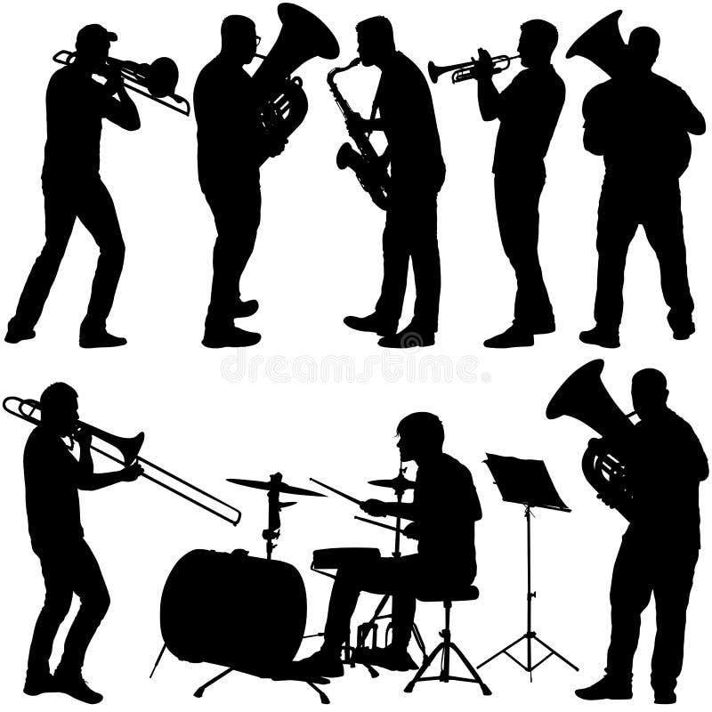 Stellen Sie das Schattenbild des Musikers die Posaune, Schlagzeuger, Tuba, Trompete, Saxophon spielend, auf einem weißen Hintergr vektor abbildung