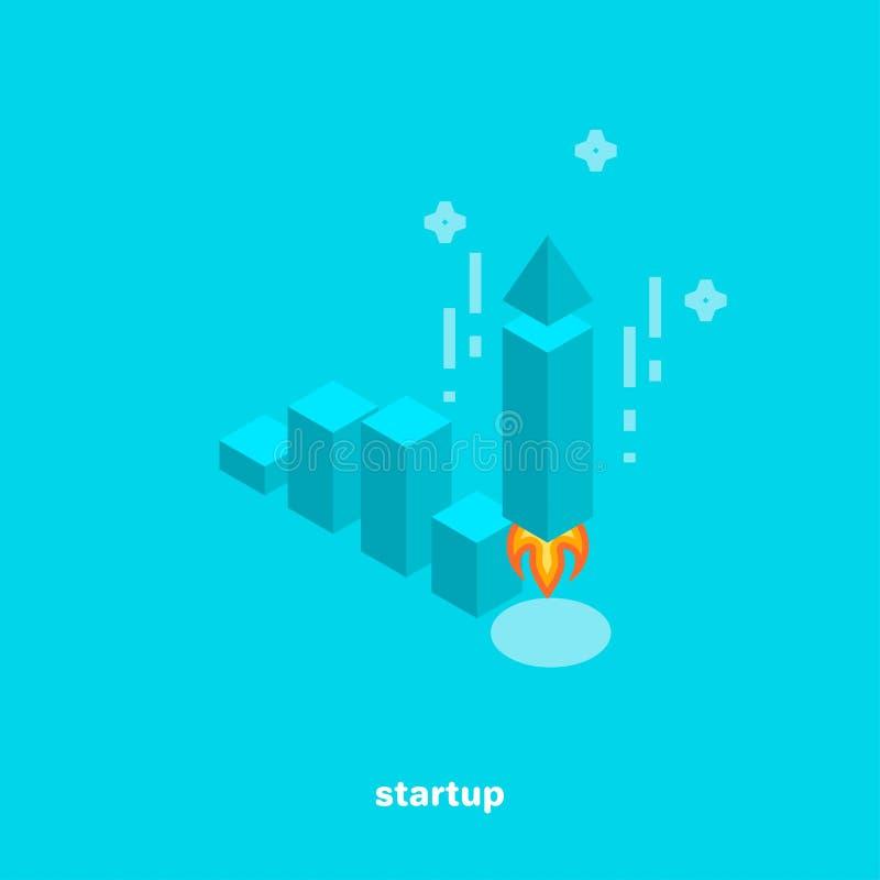 Stellen Sie das Zeigen der Dynamik des Wachstums eines beginnenden Geschäfts grafisch dar lizenzfreie abbildung