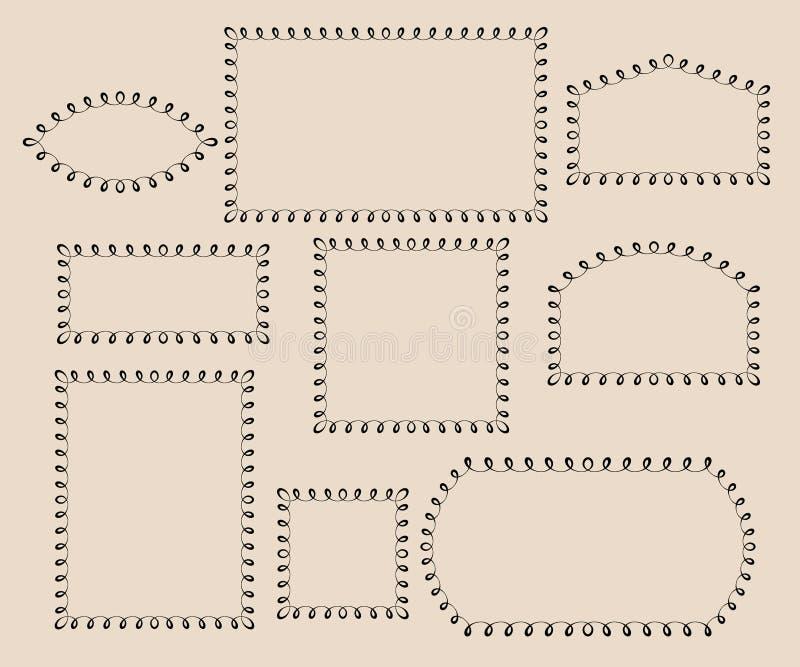Stellen Sie dekorative Felder ein Illustrationsweinlese stock abbildung
