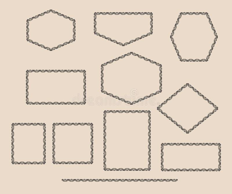 Stellen Sie dekorative Felder ein Illustrationsweinlese lizenzfreie abbildung