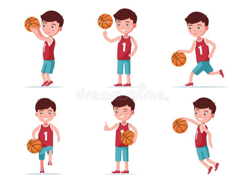 Stellen Sie den Jungenbasketball-spieler ein, der mit einem Ball spielt stock abbildung