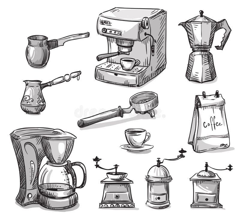 Stellen Sie den Kaffee ein, der Geräte herstellt stock abbildung