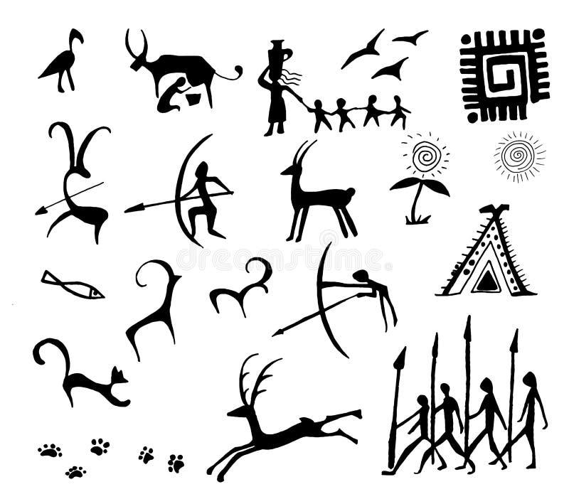 Stellen Sie der Steinzeitalterfelszeichnung des Vektors von der alten Kunstillustration ein, die auf weißem Hintergrund lokalisie stock abbildung