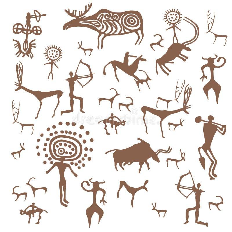 Stellen Sie der Steinzeitalterfelszeichnung des Vektors von der alten Kunstillustration ein, die auf weißem Hintergrund lokalisie vektor abbildung
