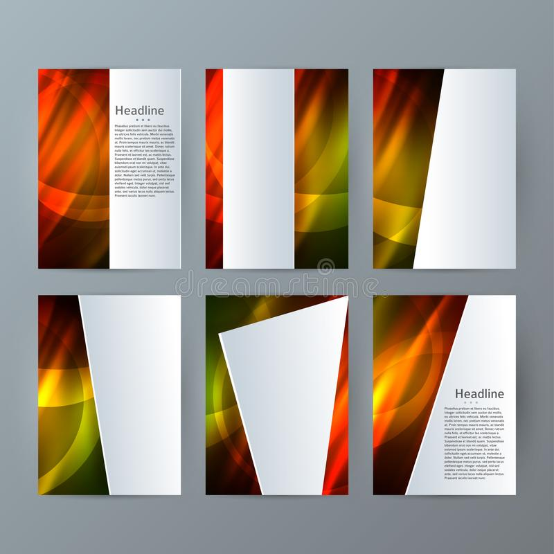 Stellen Sie des vertikalen heißes Glühen effect05 Broschüren-Modells der Schablonen ein lizenzfreie abbildung
