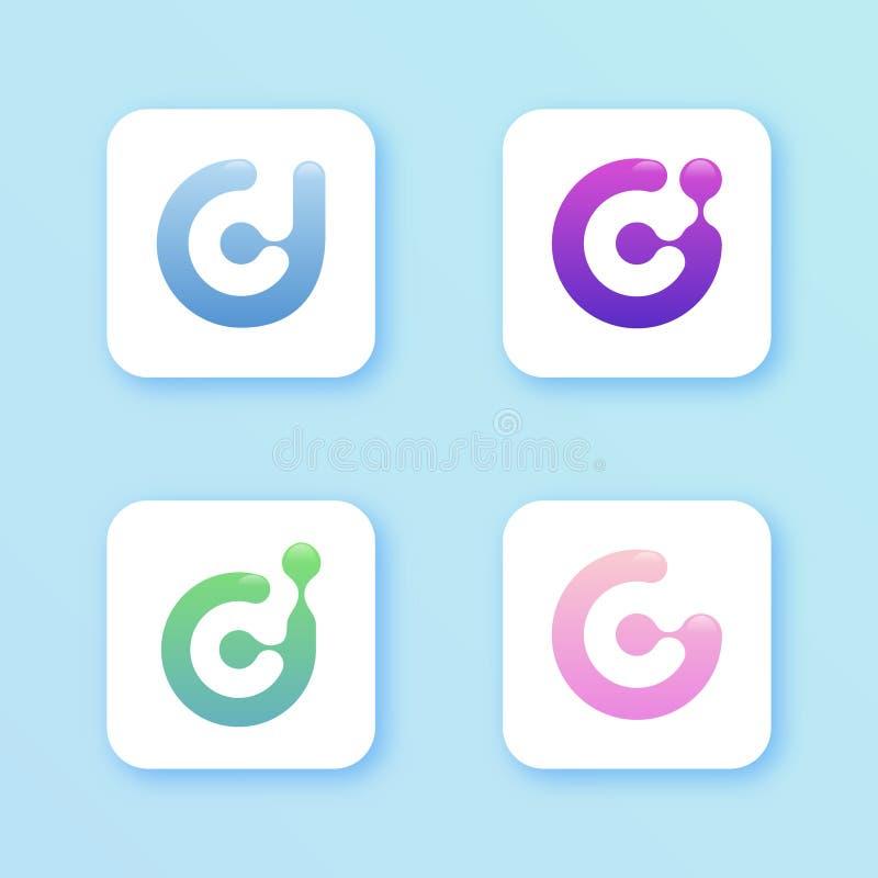 Stellen Sie Designvektor-Illustrationsschablone des APP-Designbuchstaben D für Smartphone-APP ein vektor abbildung