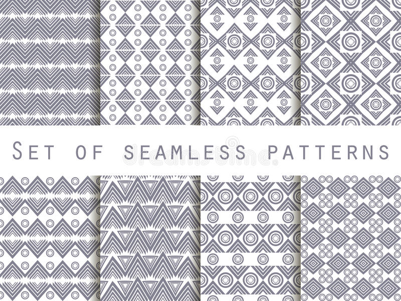 Stellen Sie die Beschaffenheit nahtlos in der ethnischen Art ein geometrisches nahtloses Muster Für Tapete Bettwäsche, Fliesen, G stock abbildung