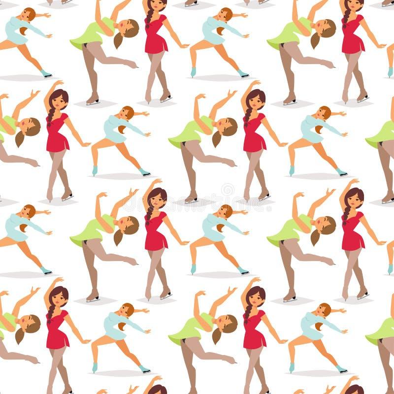 Stellen Sie die Eisschlittschuhläufer-Frauenvektorschönheits-Sportmädchen dar, die Übungs- und Tricksprungscharaktertänzer-Leutel vektor abbildung