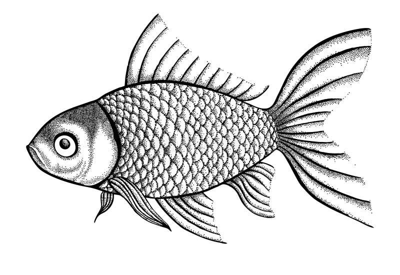 Stellen Sie die Fische dar, die in den Punkten einer Grafikart gemalt werden und  vektor abbildung