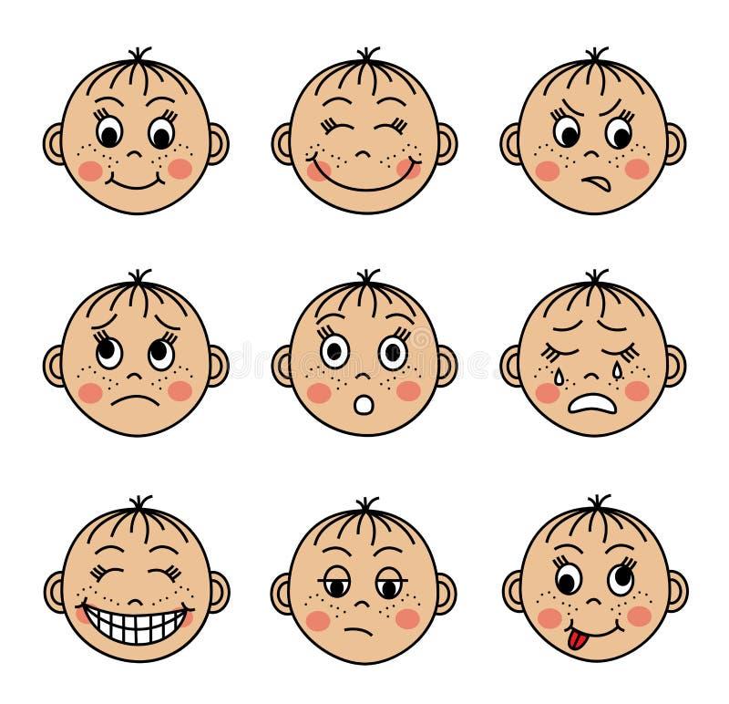 Stellen Sie die Gesichter der Kinder mit verschiedenen Gefühlen ein stock abbildung