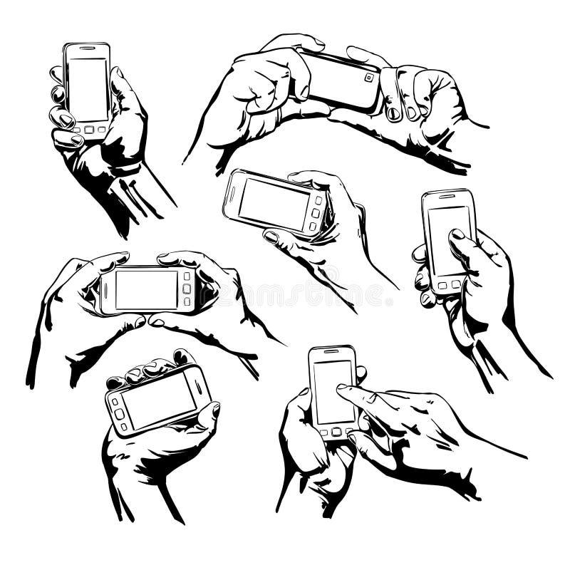 Stellen Sie die Hände ein, die das intelligente Telefon halten vektor abbildung