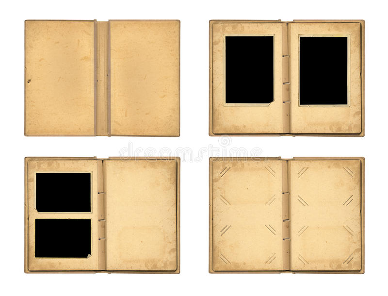 Stellen Sie die offenen alten Fotoalben lokalisiert auf weißem Hintergrund ein stockfotos