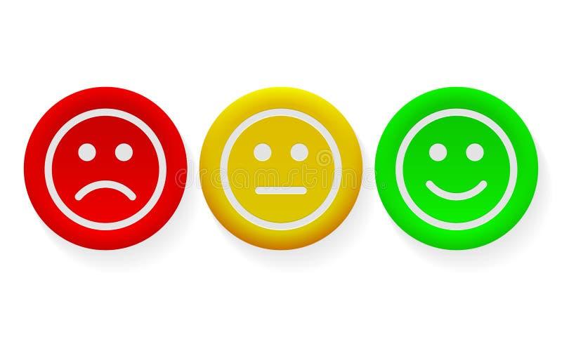 Stellen Sie die positive Lächelnikone, negative Meinungsvektorknöpfe gegenüber vektor abbildung