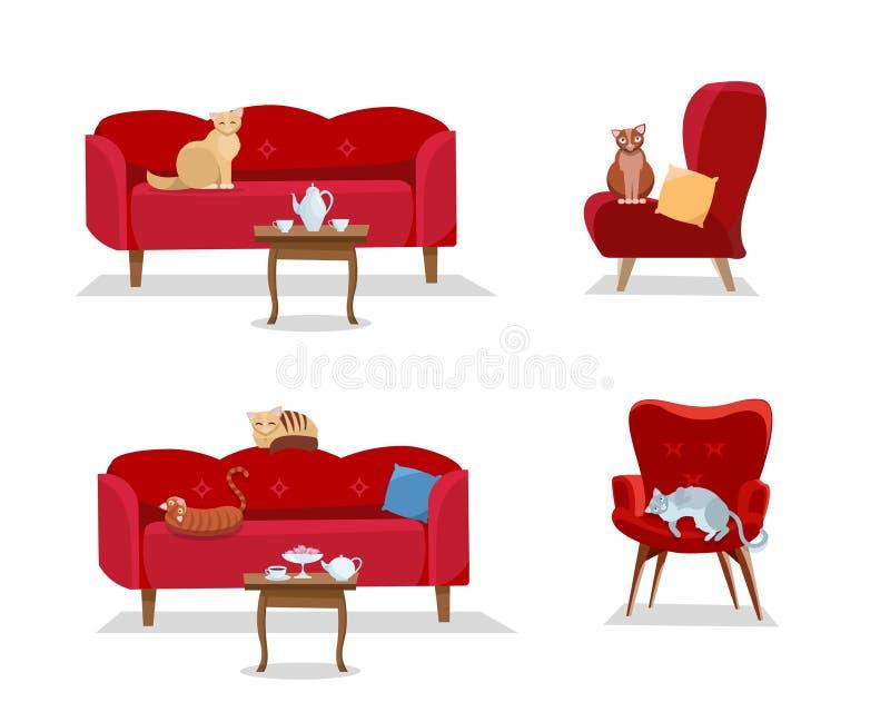 Stellen Sie ein - 5 Katzen sitzen auf roten bequemen Sofas und weichen Designerlehnsesseln auf weißem Hintergrund Katze sitzt und stock abbildung