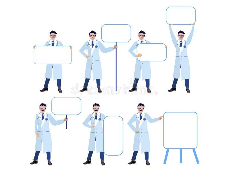 Stellen Sie ein, lokalisiert auf weißem Hintergrundmanndoktor Verschiedene Haltungen, Punkt zu den Tabellen Karikaturvektorebene vektor abbildung