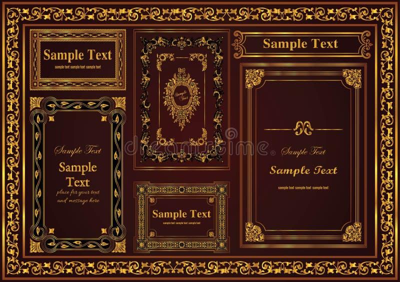 Stellen Sie eine nette antike dekorative Rahmengoldfarbe ein stock abbildung