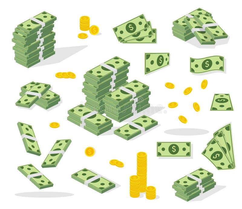 Stellen Sie eine verschiedene Art Geld ein Bankwesenprozeß Verpackend in den Bündeln Banknoten, fliegen Rechnungen, Goldmünzen Fl stock abbildung