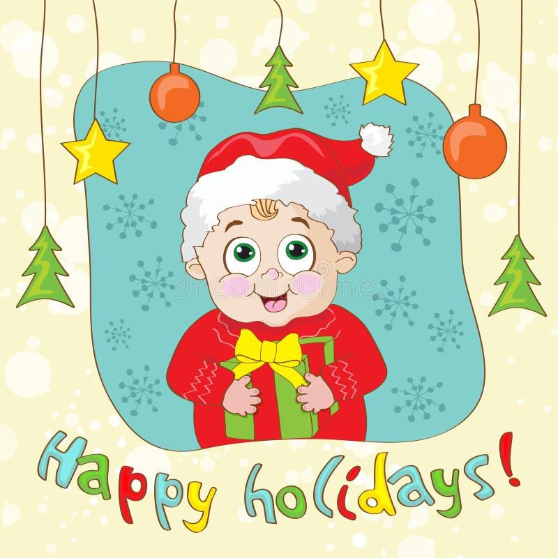 Stellen Sie eine Weinlese-ähnliche Weihnachtskarte mit Kind her stock abbildung