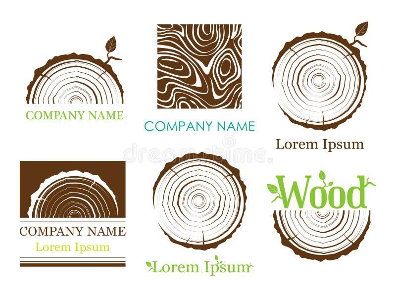 Stellen Sie einen Querschnitt des Stammes mit Baumringen ein Vektor zeichen Baumwachstumsringe lizenzfreie stockfotografie