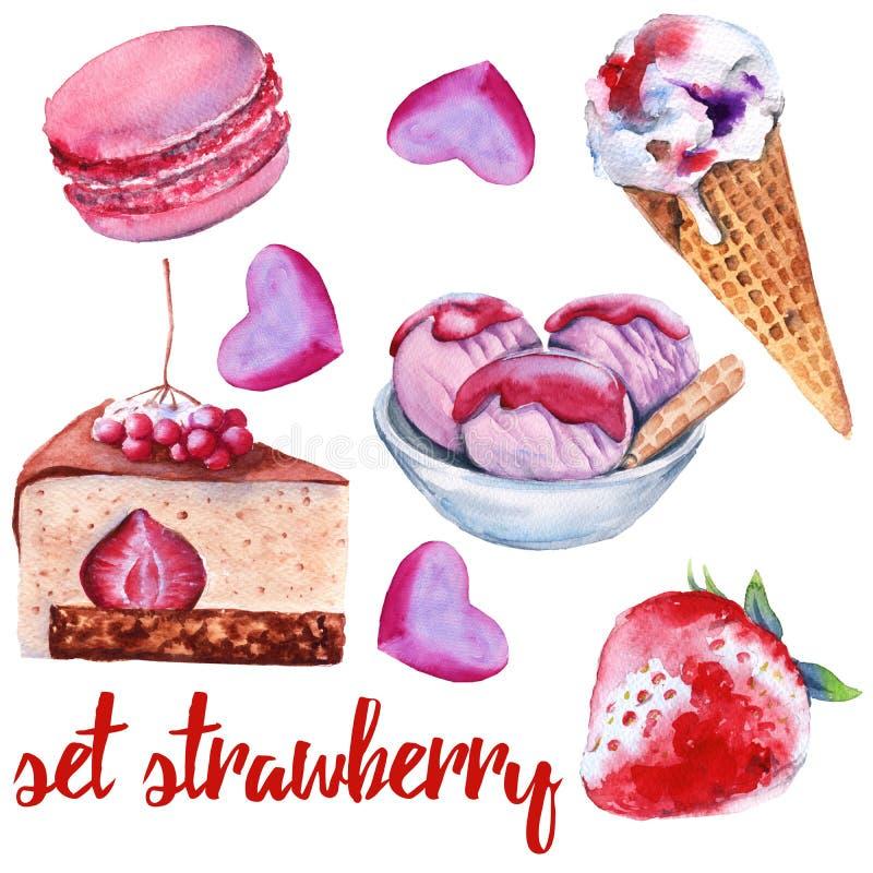 Stellen Sie Erdbeerbonbons ein Kuchen, Süßigkeit, Eiscreme und Makrone lizenzfreie abbildung