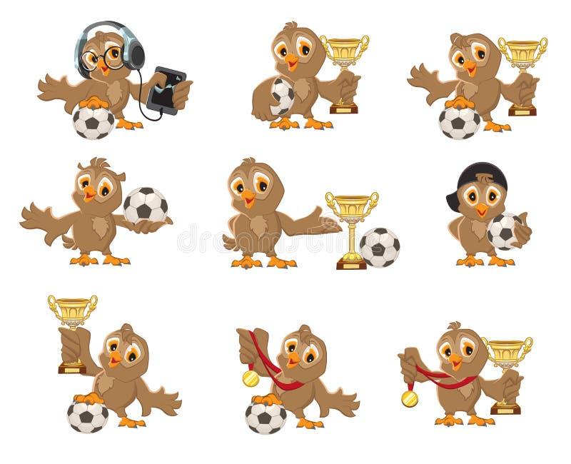 Stellen Sie Eulenvogelfußball ein Gewinn in der Fußballmeisterschaft Sport höhlt und Medaille vektor abbildung