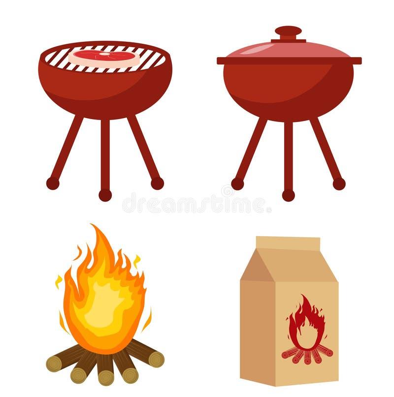 Stellen Sie für Grill und Grill mit Holzkohle, Feuer ein Sammlung für BBQ Getrennt auf weißem Hintergrund Auch im corel abgehoben stock abbildung