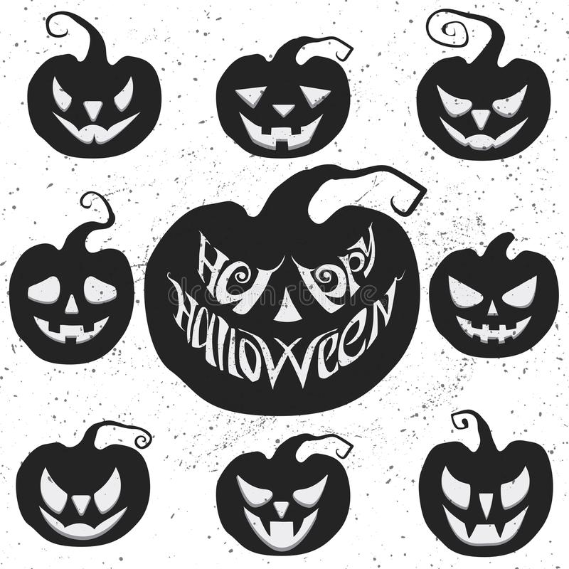 Stellen Sie für Halloween mit dem Kürbisschnitzen ein Glückliche Halloween-Vektorbeschriftung stock abbildung