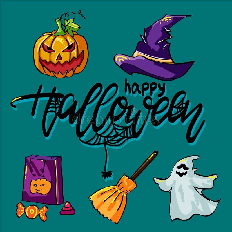 Stellen Sie für Halloween mit Hut und anderen Sachen ein stock abbildung